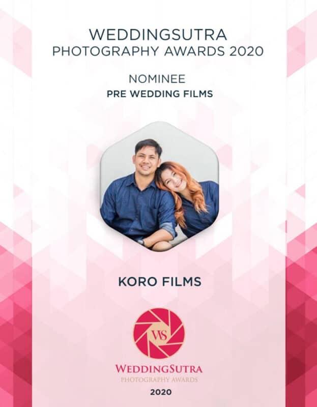 WeddingSutra Photography Awards 2020 Shortlist Pre Wedding Films KORO FILMS